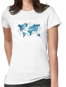 World Map blue Womens Fitted T-Shirt