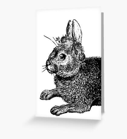 The Rabbit and Roses | Black and White Greeting Card