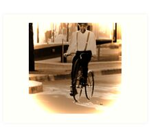 Cycling from vintage past Art Print