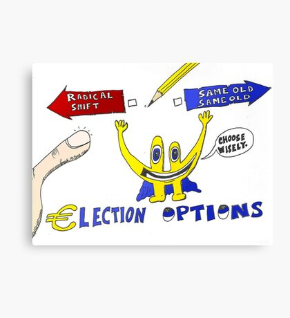 Binary Options News Cartoon Euroman and the Greek Elections Canvas Print