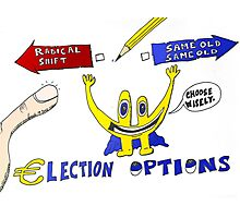 Binary Options News Cartoon Euroman and the Greek Elections Photographic Print