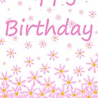 Happy Birthday pink flower card by Dawnsky2