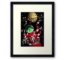 Santa in space Framed Print