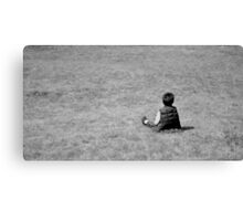 Boy on the lawn Canvas Print