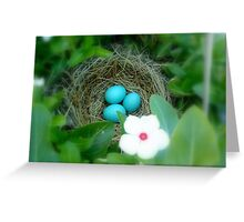 Robin Eggs and Vinca  Greeting Card