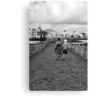 Children walking on a stone bridge Canvas Print