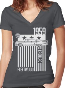 1959 Cadillac Sixty Special Fleetwood illustration Women's Fitted V-Neck T-Shirt
