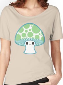 Green Polka Dotted Mushroom Women's Relaxed Fit T-Shirt