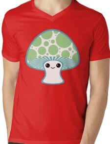 Green Polka Dotted Mushroom Mens V-Neck T-Shirt