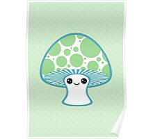 Green Polka Dotted Mushroom Poster