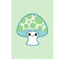 Green Polka Dotted Mushroom Photographic Print
