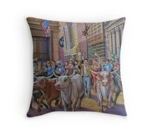 The Running of the Bulls Throw Pillow