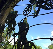 Mangotsfield station window grill, the cyclists by buttonpresser