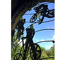 Mangotsfield station window grill, the cyclists Photographic Print
