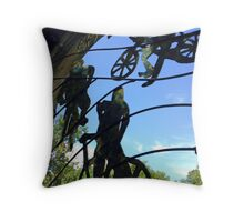 Mangotsfield station window grill, the cyclists Throw Pillow