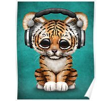 Cute Tiger Cub Dj Wearing Headphones on Blue Poster