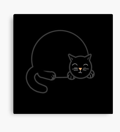Sleeping Chubby Kitty - Black Canvas Print
