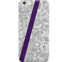 Elegant Royal Purple Stripe and White Floral Print iPhone Case/Skin