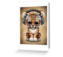 Cute Tiger Cub Dj Wearing Headphones  Greeting Card