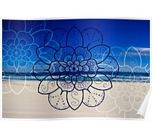 Blue mandala flower on Bondi Beach Poster