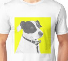 Jack Russell Crossbreed in Yellow Headshot Unisex T-Shirt