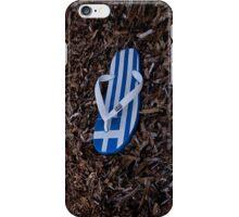 Greek flag on flipflop iPhone Case/Skin