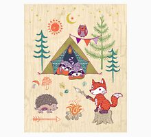 Racoons Campout Wood background Classic T-Shirt