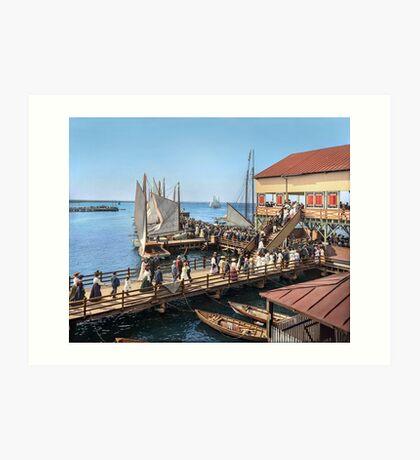 Pier at the inlet, Atlantic City, N.J. year 1904 Art Print