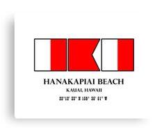 Hanakapiai Beach Hawaii Nautical Flag Art Canvas Print