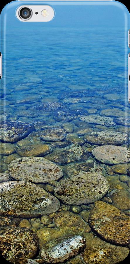 Greek peeble waterscape iphone case by shelfpublisher
