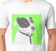 Jack Russell Crossbreed in Green Headshot Unisex T-Shirt