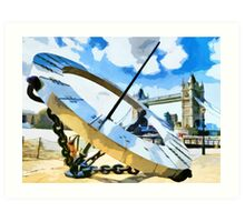 The Timepiece Sculpture + Tower bridge  Art Print