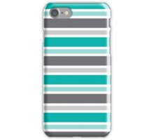 Teal and Gray Stripes Pattern iPhone Case/Skin
