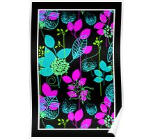 Foliage Fuschia & Teal [iPhone / iPod Case and Print] Poster