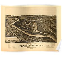 Panoramic Maps Franklin and Franklin Falls NH Merrimack County 1884 Poster