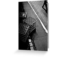 The lonely life of a milk crate (watching the world go by) Greeting Card