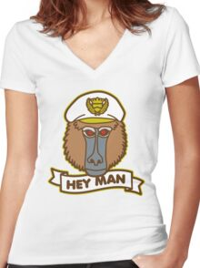 Hey Man Baboon Women's Fitted V-Neck T-Shirt