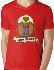 Hey Man Baboon Mens V-Neck T-Shirt