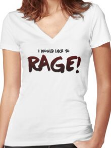 I would like to RAGE! (Variant) - Critical Role Quotes Women's Fitted V-Neck T-Shirt