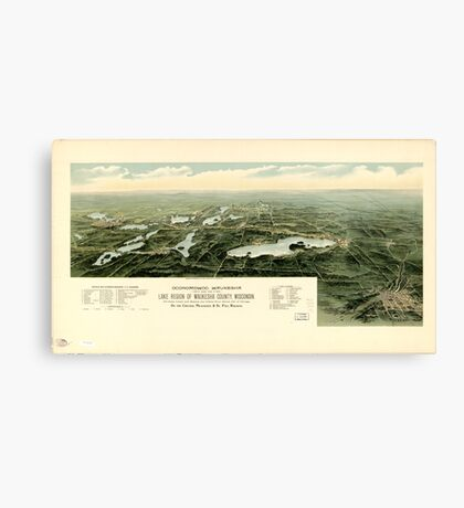 Panoramic Maps Oconomowoc Waukesha and the lake region of Waukesha County Wisconsin Canvas Print