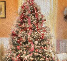 Vintage Christmas Tree in Classic Crimson Red Trim by Shelley Neff