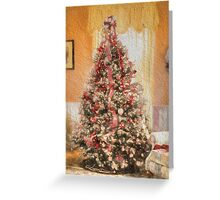 Vintage Christmas Tree in Classic Crimson Red Trim Greeting Card