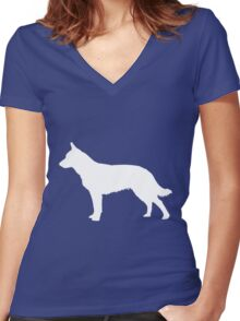 Blue Heeler Silhouette Women's Fitted V-Neck T-Shirt