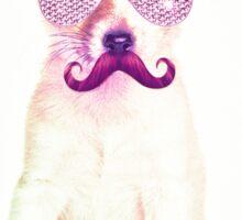 Funny Chihuahua purple Mustache and glasses  Sticker