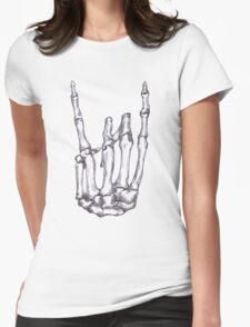 Rock On Skeleton Hand  Womens Fitted T-Shirt