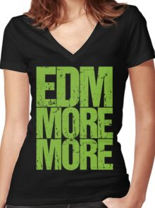 EDM MORE MORE (neon green) Women's Fitted V-Neck T-Shirt