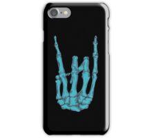 Rock On Skeleton Hand - Blue iPhone Case/Skin