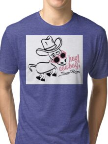 Sugar Ponies Hey Cowboy!! Black on White Tri-blend T-Shirt
