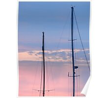 Masts in the Sunset Poster