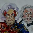 Dame Edna with Sir Les Patterson by Wayne Dowsent